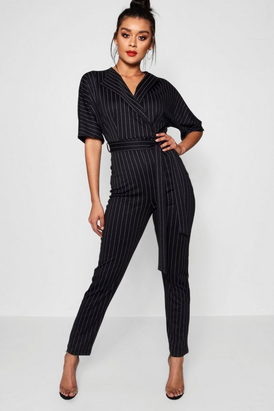 Womens Black Pinstripe Lapel Wrap Jumpsuit
