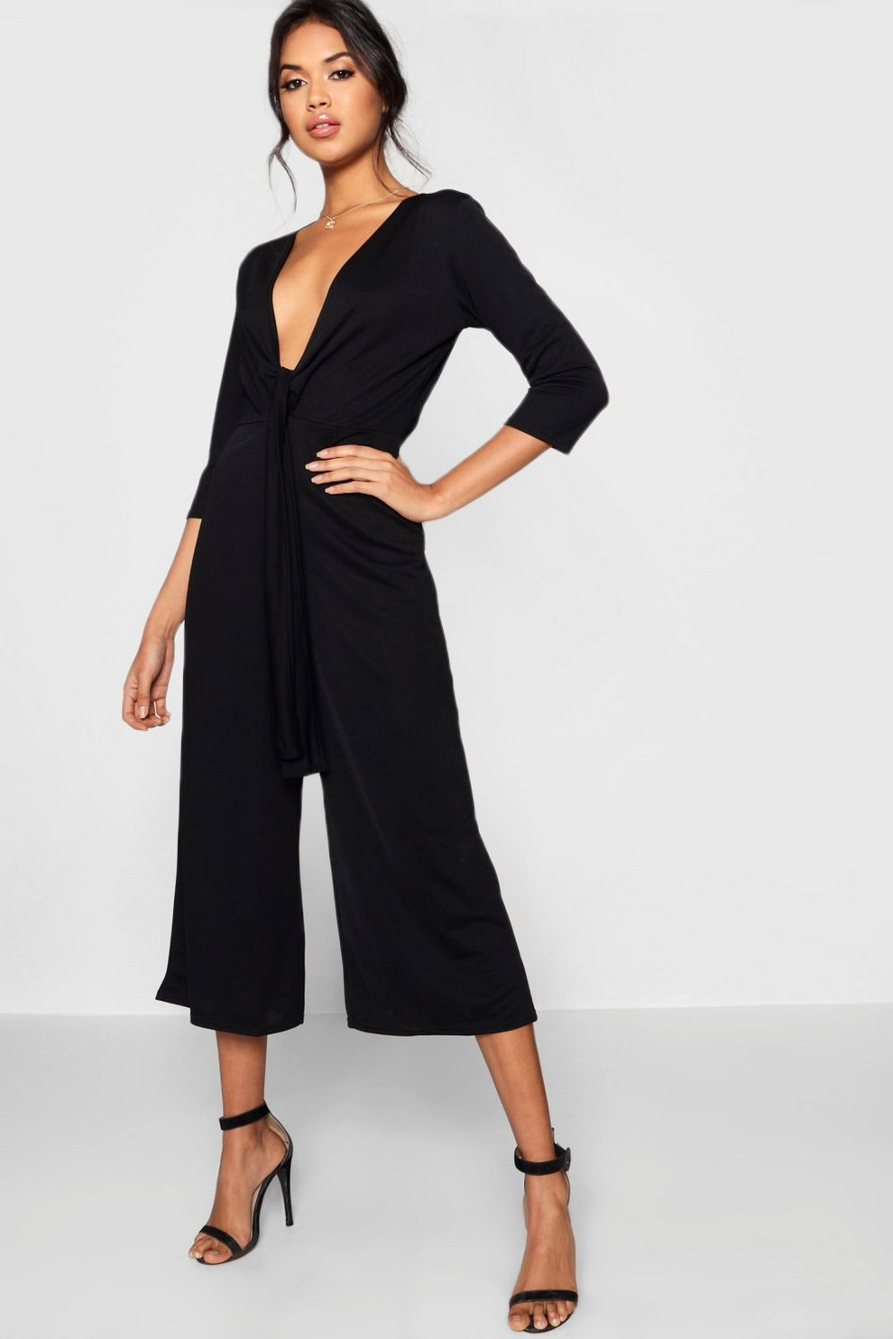 a739b78641a21 Tie Front Plunge Culotte Jumpsuit | Boohoo