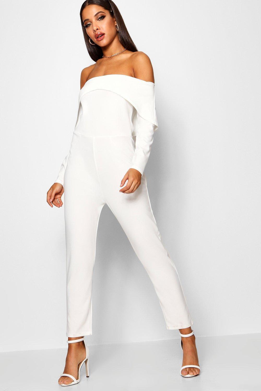 NEW-Boohoo-Womens-Bardot-Angular-Detail-Skinny-Leg-Jumpsuit
