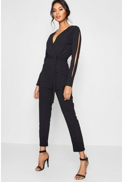 Womens Black Split Sleeve Wrap Over Smart Jumpsuit