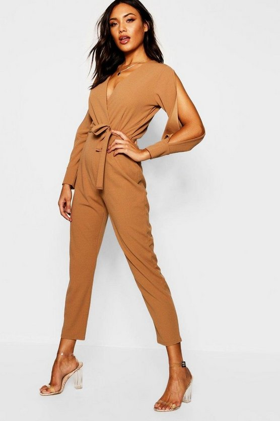 Womens Camel Split Sleeve Wrap Over Smart Jumpsuit