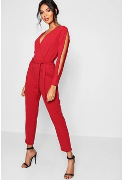 Cranberry Split Sleeve Wrap Over Smart Jumpsuit