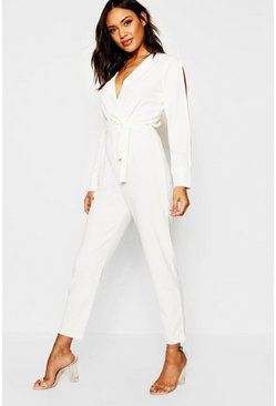 Ecru Split Sleeve Wrap Over Smart Jumpsuit