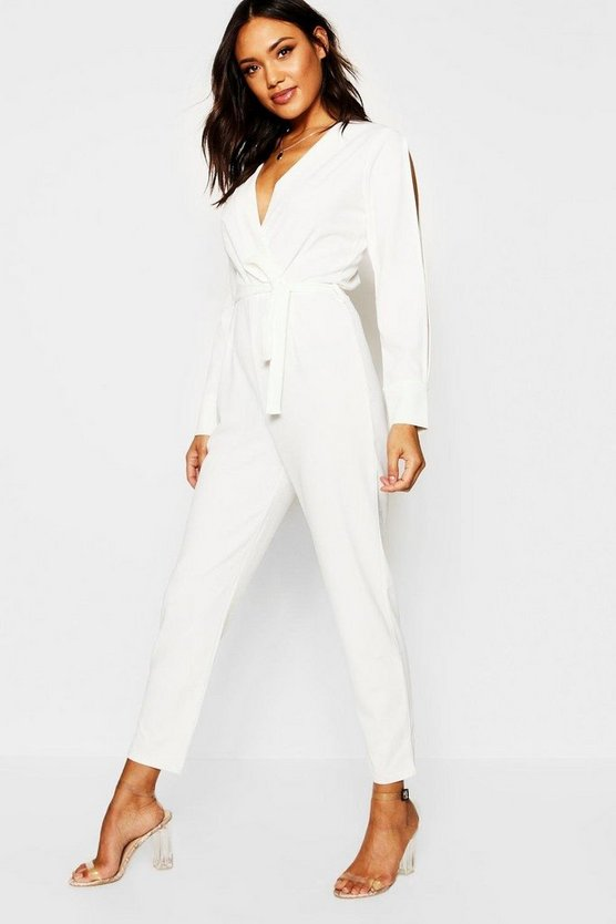 Womens Ecru Split Sleeve Wrap Over Smart Jumpsuit