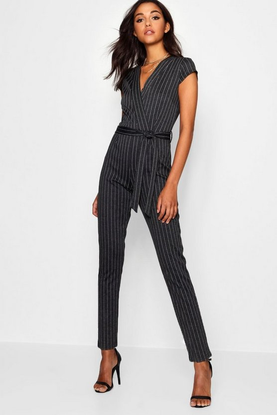 Womens Grey Pinstripe Capped Sleeve Jumpsuit