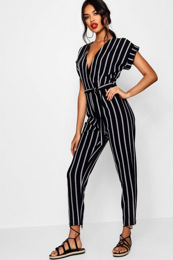 Tailored Roll Sleeve Tie Belt Jumpsuit