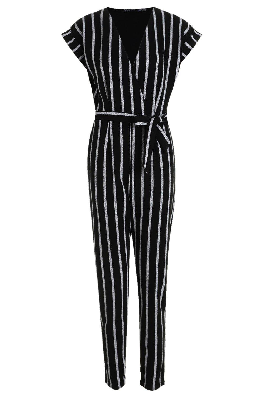 entalladas con negro de arremangadas cinturón y largo Mono mangas nudo P5w8Pq