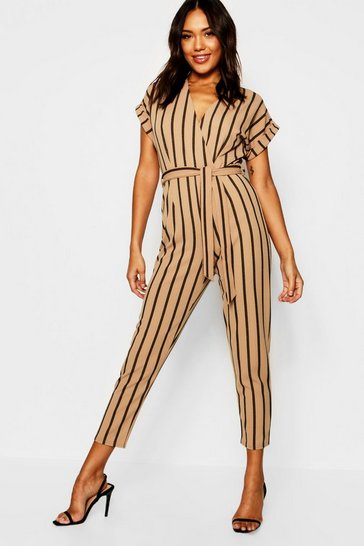 Womens Camel Tailored Roll Sleeve Tie Belt Jumpsuit