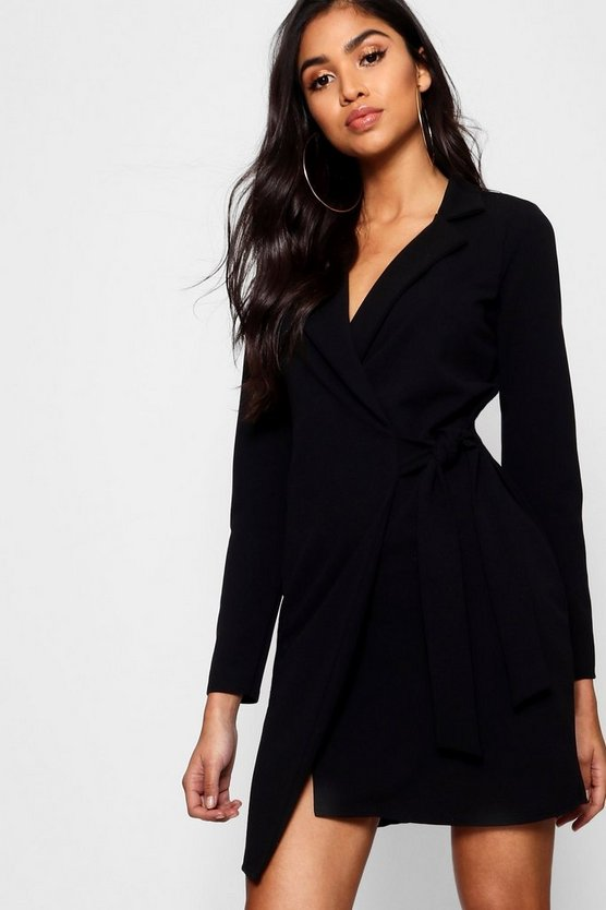 Womens Black Tie Side Blazer Dress
