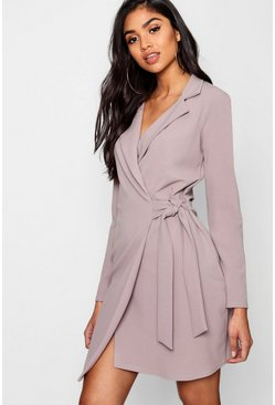 Womens Grey Tie Side Blazer Dress