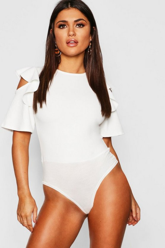 Ruffle Cold Shoulder Bodysuit