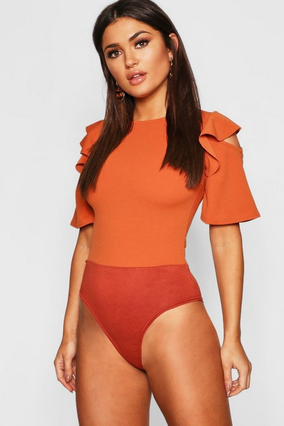 Womens Rust Ruffle Cold Shoulder Bodysuit