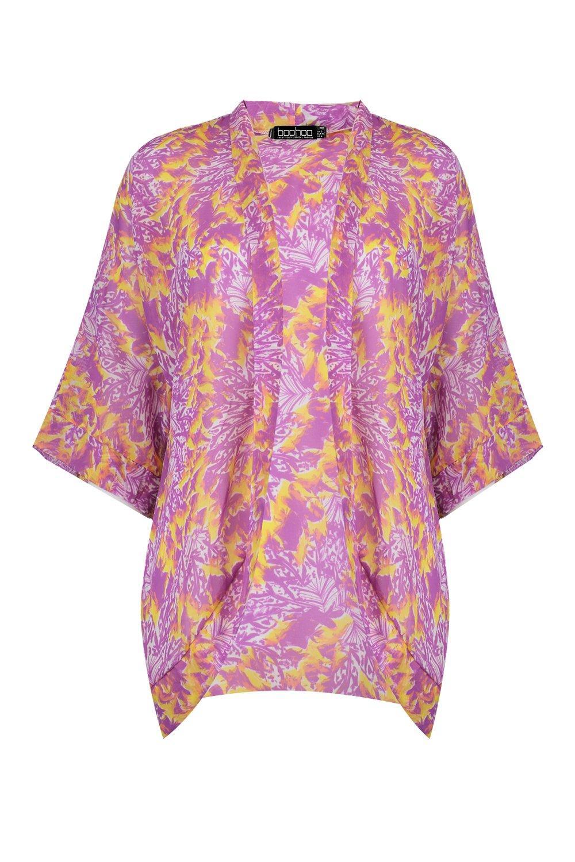 in cocoon Kimono stampa chiffon con ax0f6w5q