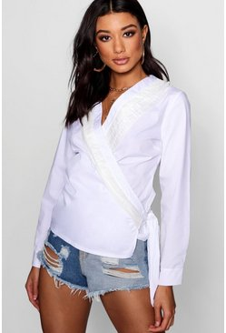 Womens White Ruffle Wrap Cotton Blouse