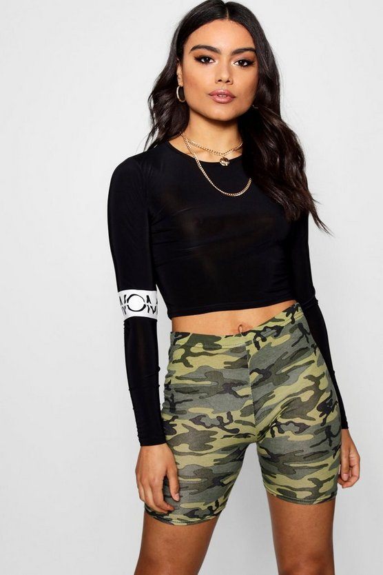 Woman Slogan Sleeve Crop