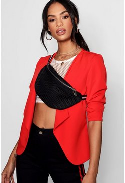 Womens Red Ruched Sleeve Waterfall Blazer