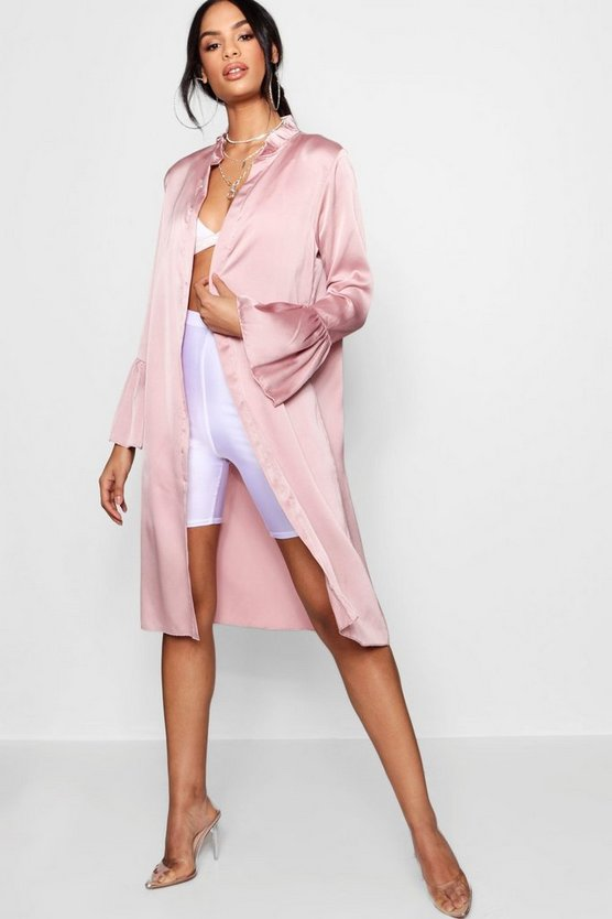 Ruffle Detail Satin Duster