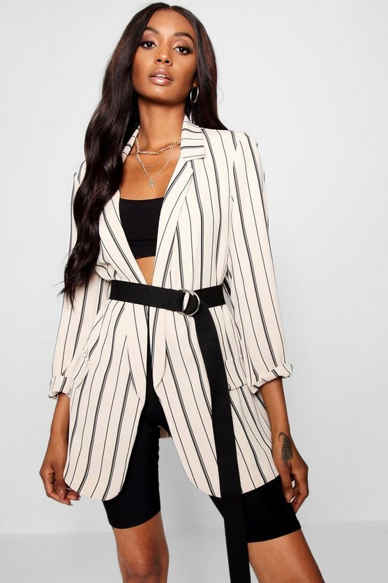Womens Stone Oversized Tailored Stripe Pocket Blazer