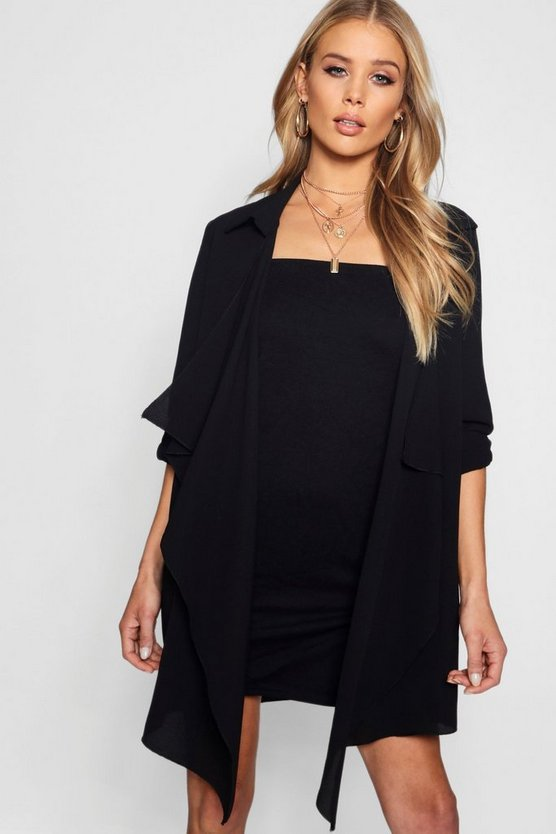 Womens Black Chiffon Waterfall Duster