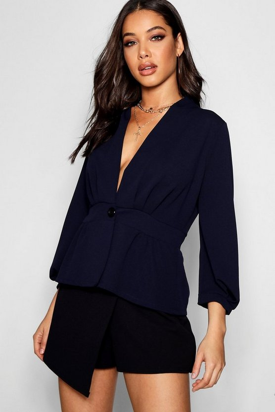 Balloon Sleeve Pleated Button Blazer