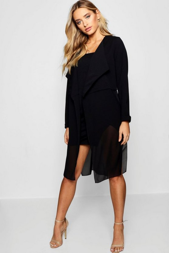 Womens Black Mixed Chiffon Waterfall Duster