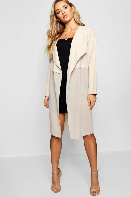 Mixed Chiffon Waterfall Duster