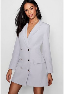Premium Double Breasted Longline Tailored Blazer, Grey, ЖЕНСКОЕ