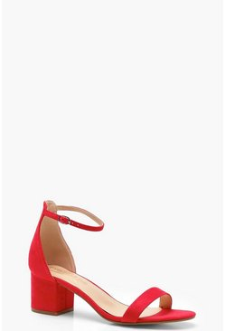 Womens Red Basic Block Heel 2 Parts
