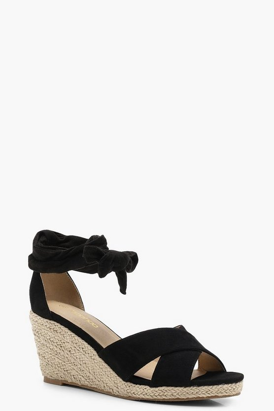 Cross Strap Wrap Espadrille Wedges
