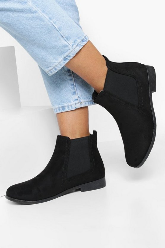 Womens Black Wide Fit Suedette Flat Chelsea Boots