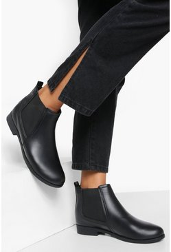 Bottines Chelsea à talon plat Wide Fit, Noir