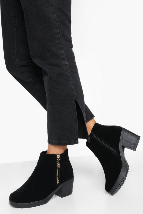 Black Wide Fit Suedette Zip Side Chunky Heel Chelsea Boots