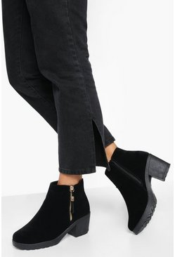Dam Black Wide Fit Suedette Zip Side Chunky Heel Chelsea Boots