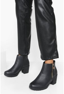 Dam Black Wide Fit Zip Side Chunky Heel Chelsea Boots