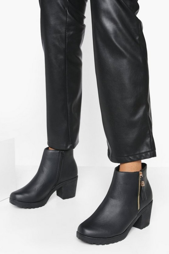 Wide Fit Zip Side Chunky Heel Chelsea Boots