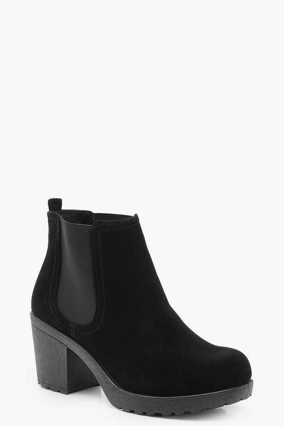 Black Wide Fit Suedette Cleated Heel Chelsea Boots