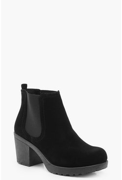 Womens Black Wide Fit Suedette Cleated Heel Chelsea Boots