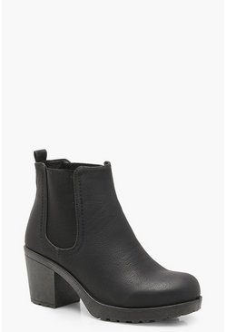 Dam Black Wide Fit Chunky Cleated Heel Chelsea Boots