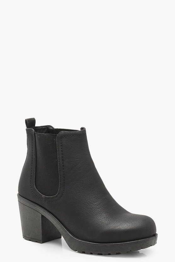 Womens Black Wide Fit Chunky Cleated Heel Chelsea Boots