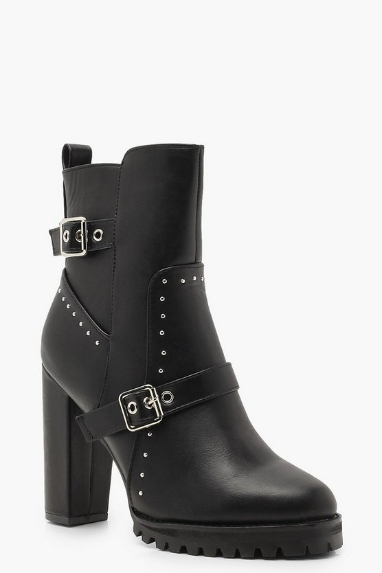 Womens Black Studded Cleated Platform Shoe Boots