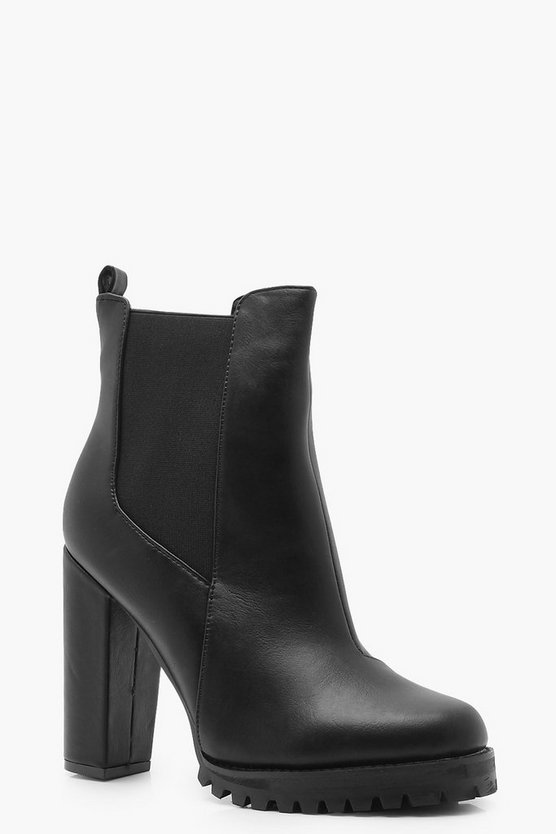 Womens Black Cleated Platform Pull On Chelsea Boots