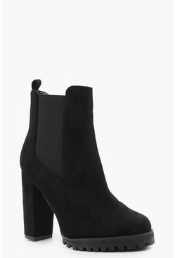 Dam Black Cleated Platform Suedette Pull On Chelsea Boots