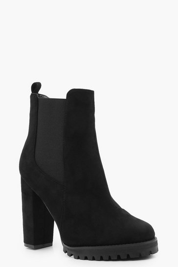 Womens Black Cleated Platform Suedette Pull On Chelsea Boots