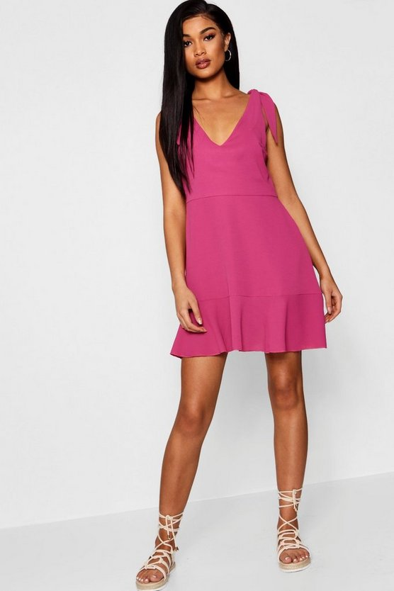 Knot Shoulder Ruffle Hem Shift Dress