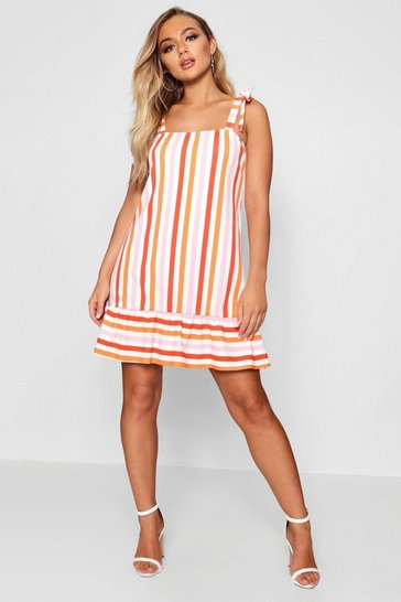 Womens Bright Stripe Tie Straps Shift Dress
