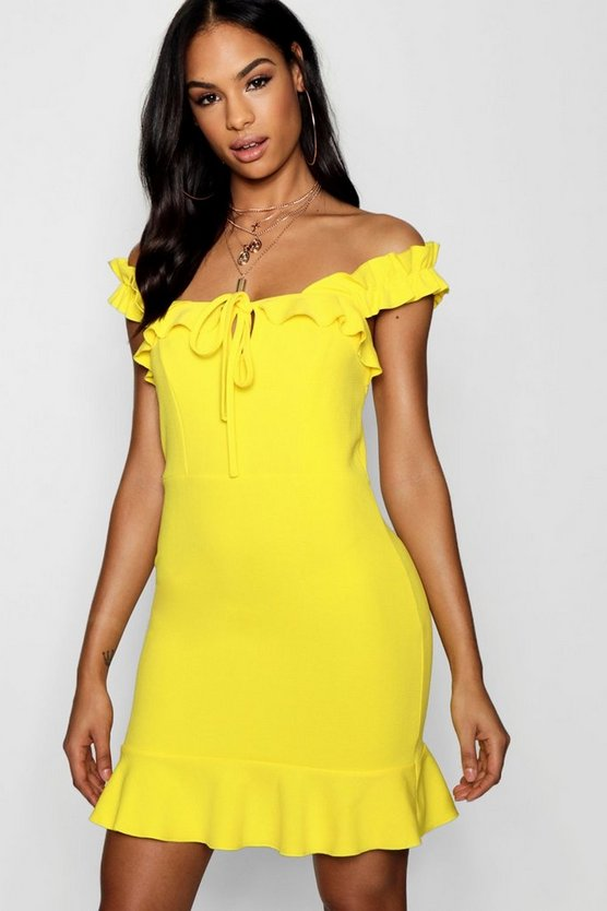 Frill Strap Detail Shift Dress