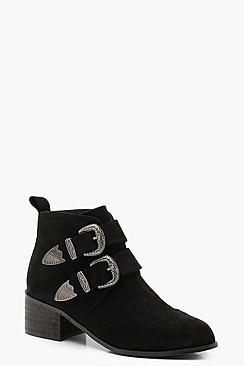 Western Buckle Chelsea Ankle Boots