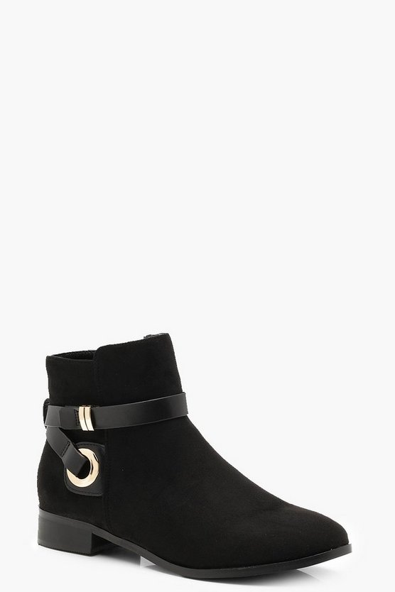 Womens Black Wrap Strap Chelsea Ankle Boots