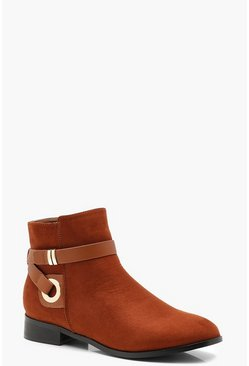 Womens Tan Wrap Strap Chelsea Ankle Boots