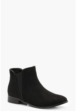 Womens Black Contrast Edge Chelsea Boots